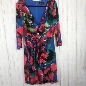 Tahari floral tropical v neck dress